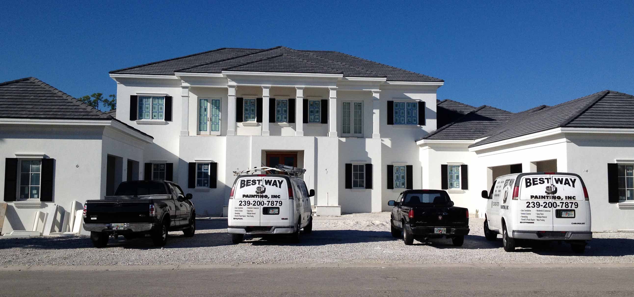 Best Way Painting, LLC. company vehicles outside of Naples Florida home | Exterior Home Painting Best Way Painting, LLC.