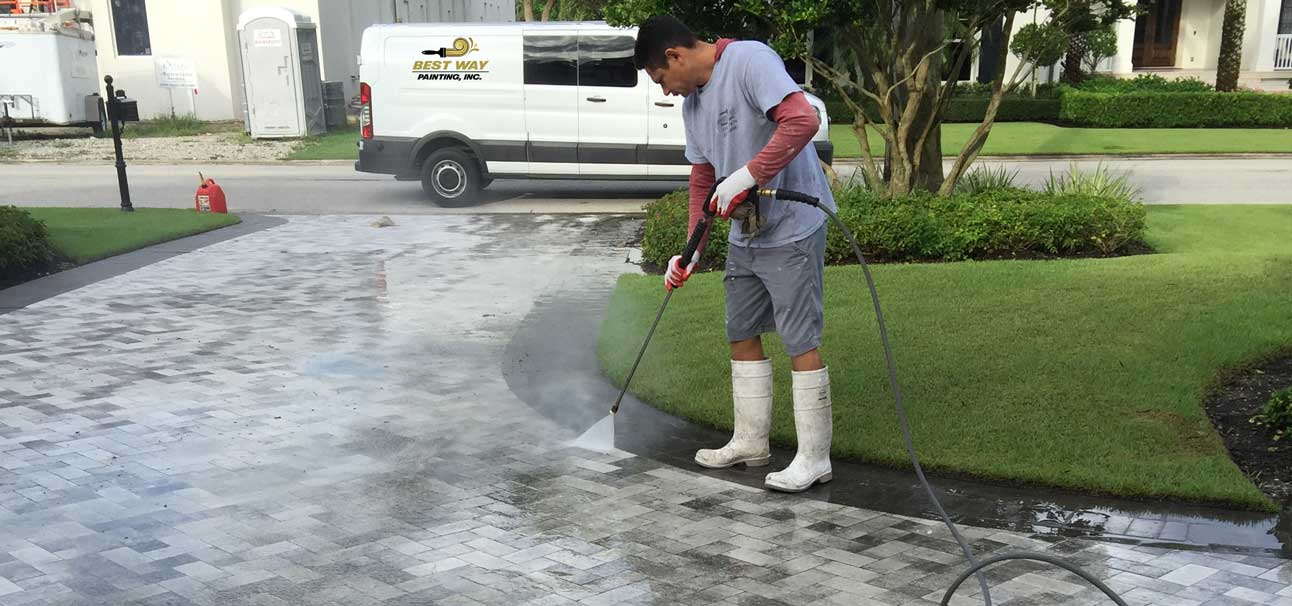 Best Way Painting performing pressure washing service at Naples, Florida home | Best Way Painting, LLC.